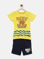 Gini & Jony Palm Tree Boys Yellow & Navy Clothing Set