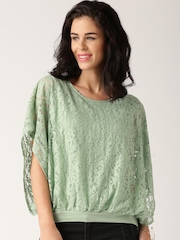 All About You from Deepika Padukone Green Lace Blouson Top