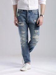 Tommy Hilfiger Blue Distressed Tapered Fit Jeans