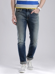 Tommy Hilfiger Blue Washed Fitted Slim Fit Jeans