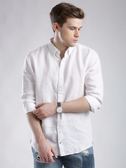 Tommy Hilfiger White Linen Printed Casual Shirt