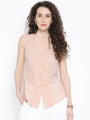 Popnetic Peach-Coloured Polyester Pleated High-Low Semi-Sheer Shirt