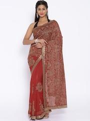 Vishal Prints Red Embroidered Embellished Saree