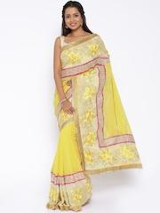 Vishal Prints Yellow Embellished Saree