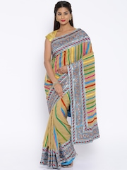Vishal Prints Brown & Blue Embellished Saree