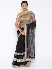 Vishal Prints Black & Grey Net Embellished Saree