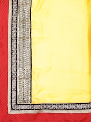 Vishal Prints Yellow & Brown Half & Half Embellished Saree