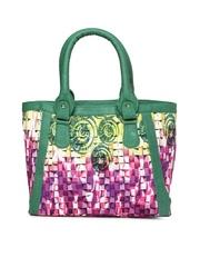 Kanvas Katha Purple & Green Printed Handbag