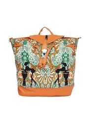Kanvas Katha Cream-Coloured & Orange Printed Backpack cum Shoulder Bag