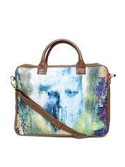Kanvas Katha Women Multicoloured Printed Canvas Laptop Bag with Sling Strap