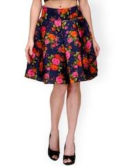 Xoxo Blue Floral Print A-Line Skirt