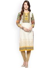 Jaipur Kurti Off-White & Green Printed Kurta