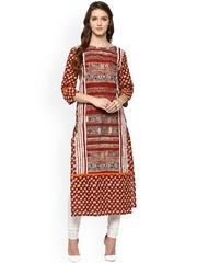 Jaipur Kurti Rust Red & Beige Printed Kurta