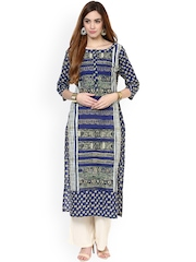 Jaipur Kurti Blue & Beige Printed Kurta