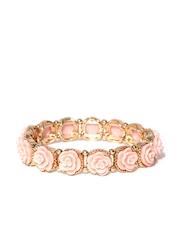 FOREVER 21 Peach-Coloured & Gold-Toned Floral Bracelet
