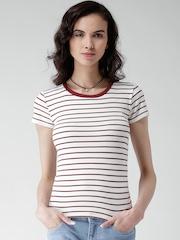 FOREVER 21 White Striped T-shirt