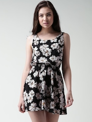 FOREVER 21 Black Printed Cut-Out Back Tailored Dress