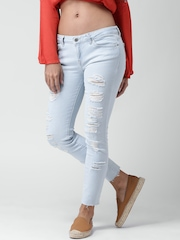 FOREVER 21 Light Blue Distressed Ankle-Length Jeans