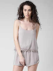 FOREVER 21 Taupe Layered Playsuit