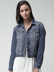 FOREVER 21 Dark Blue Washed Denim Jacket