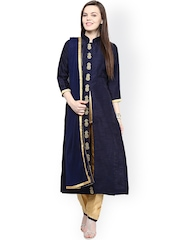 Chitwan Mohan Navy & Beige Raw Silk Salwar Suit with Dupatta