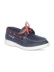 West Bay Kids Navy Leather Boat Shoes