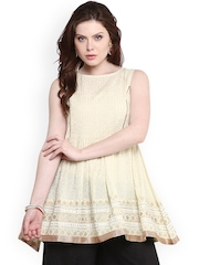 Nayo Cream-Coloured A-Line Printed Kurti