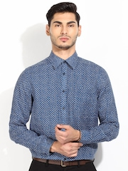 Blackberrys Blue Printed Classic Fit Linen Casual Shirt