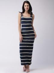HRX by Hrithik Roshan Navy & White Striped Maxi Dress