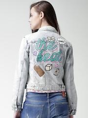 Silvian Heach Blue Washed Printed Back Denim Jacket