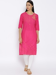 Aurelia Pink Printed Kurta with Embroidered Detail