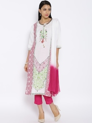 Aurelia Off-White & Pink Linen Printed Kurta with Trousers & Dupatta