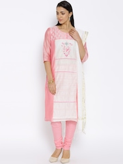 Aurelia Pink & Off-White Embroidered Churidar Kurta with Dupatta