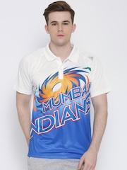 Adidas White Mumbai Indians 10 Travel Polyester Printed Polo T-shirt