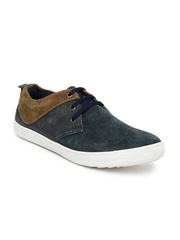 Provogue Men Teal Blue & Brown Suede Sneakers