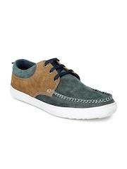 Provogue Men Teal Green & Brown Suede Sneakers