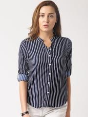 DressBerry Navy & White Striped Polyester Shirt