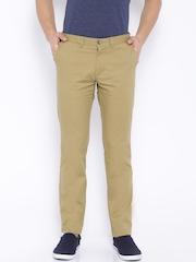 Indian Terrain Khaki Brooklyn Slim Fit Casual Trousers