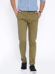Indian Terrain Men Khaki Solid Slim Fit Flat-Front Trousers