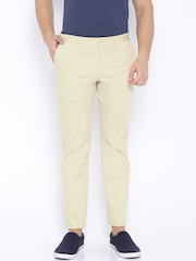 Indian Terrain Cream-Coloured Brooklyn Slim Fit Trousers