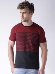 Moda Rapido Maroon & Black Printed T-shirt