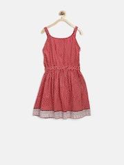 YK Girls Red Dot Print Fit & Flare Dress