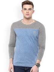 Avoir Envie Blue & Grey Slim Fit T-shirt