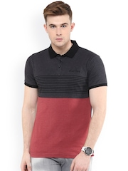 Avoir Envie Red & Grey Slim Fit Polo T-shirt