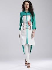 W Teal Green & White Printed High-Low Kurta