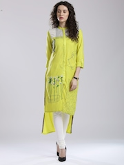 W Lime Green Printed High-Low Kurta