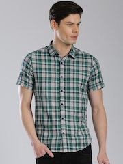 HRX by Hrithik Roshan Navy & Green Checked Casual Shirt