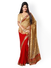 Saree Swarg Red & Gold-Toned Faux Georgette & Net Saree