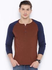 Highlander Rust Brown & Navy Henley T-shirt