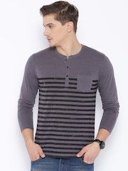 Highlander Grey & Black Striped Henley T-shirt